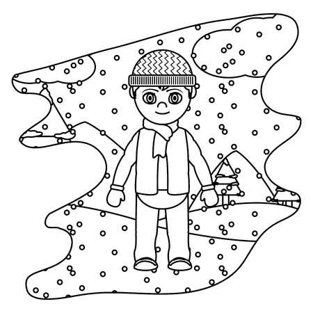 line boy with winter clothes and snowing weather vector illustration  イラスト・ベクター素材