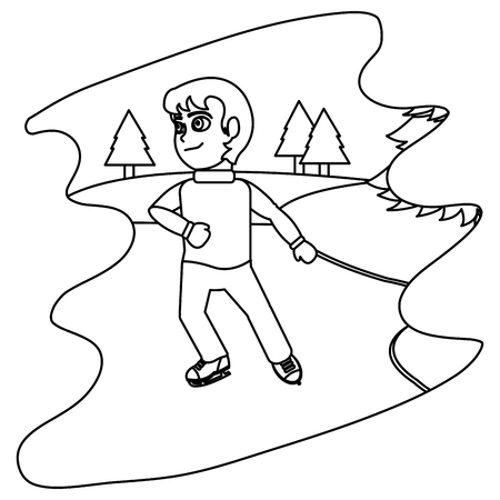 line boy with ice skates in the winter weather vector illustration  イラスト・ベクター素材