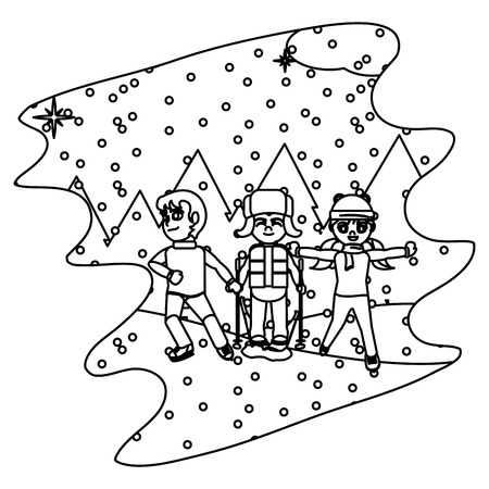 line children play in the snowing and winter weather vector illustration