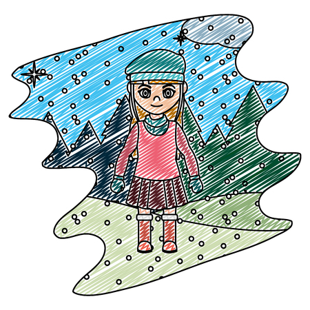 doodle girl with winter clothes and snowing weather vector illustration  イラスト・ベクター素材