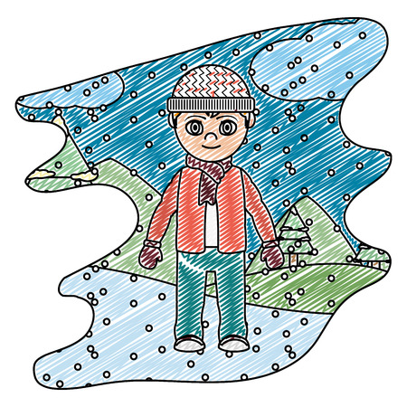 doodle boy with winter clothes and snowing weather vector illustration