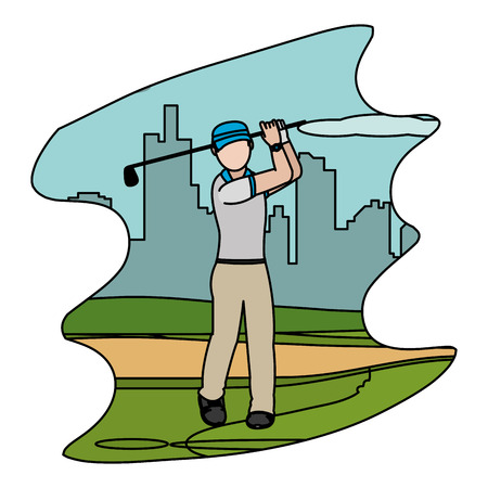 color man with uniform play golf sport vector illustration