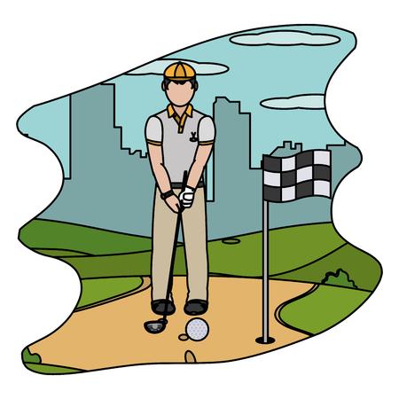 color man playing golf sport with uniform vector illustration Stock Illustratie