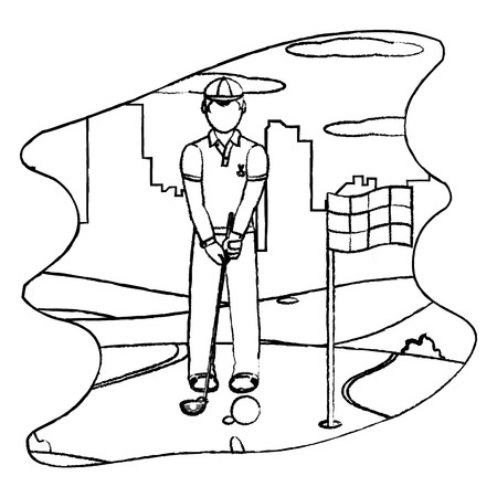 grunge man playing golf sport with uniform vector illustration