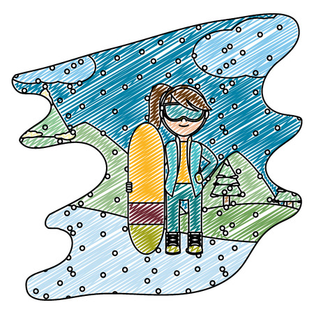 doodle girl with skiing board in the winter weather vector illustration