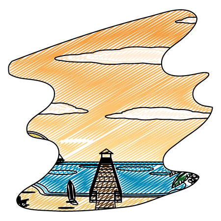 doodle wood vigilance towel in the beach and spring vector illustration