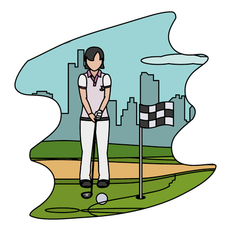 color woman with uniform playing golf sport vector illustration Vettoriali