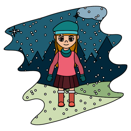color girl with winter clothes and snowing weather vector illustration  イラスト・ベクター素材