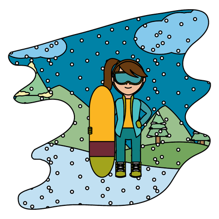 color girl with skiing board in the winter weather vector illustration