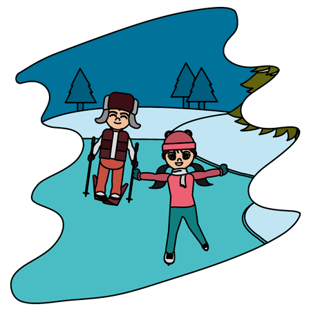 color children play in the ice and winter weather vector illustration