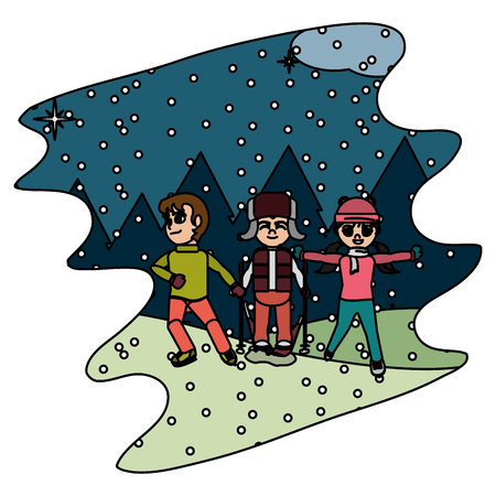color children play in the snowing and winter weather vector illustration