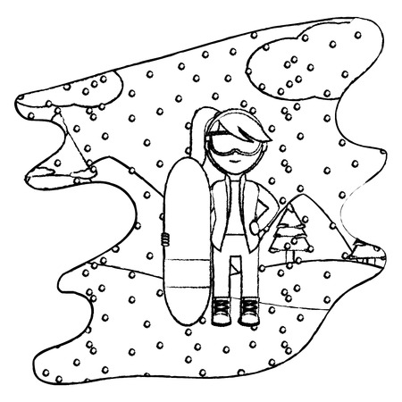 grunge girl with skiing board in the winter weather vector illustration