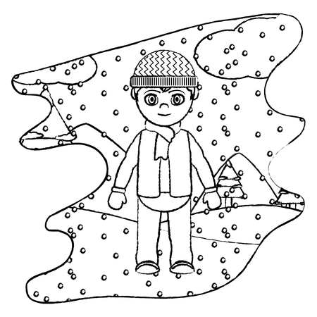 grunge boy with winter clothes and snowing weather vector illustration  イラスト・ベクター素材