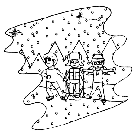 grunge children play in the snowing and winter weather vector illustration