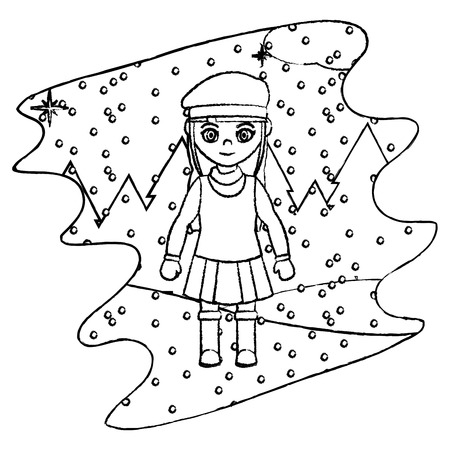 line girl with winter clothes and snowing weather vector illustration