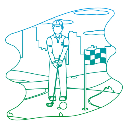 degraded line man playing golf sport with uniform vector illustration