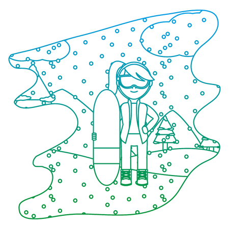 degraded line girl with skiing board in the winter weather vector illustration  イラスト・ベクター素材