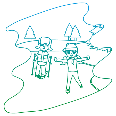 degraded line children play in the ice and winter weather vector illustration  イラスト・ベクター素材