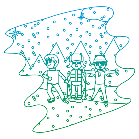 degraded line children play in the snowing and winter weather vector illustration