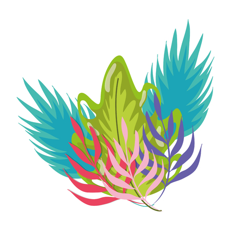 tropical plants natural leaves style vector illustration