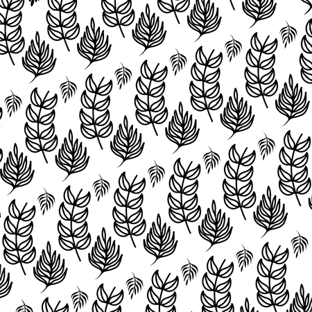 line tropical plant branches leaves background vector illustration