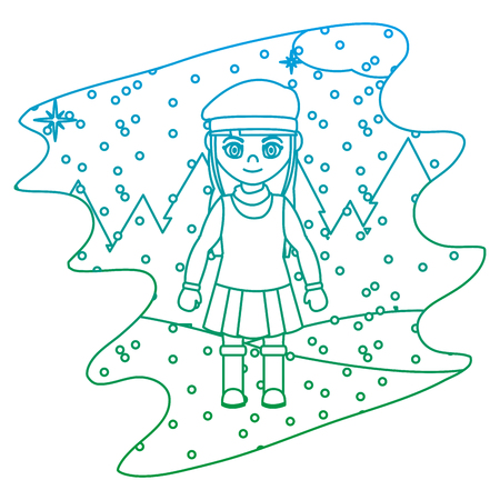 degraded line girl with winter clothes and snowing weather vector illustration