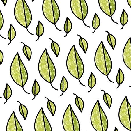 doodle natural leaf tropical botany background vector illustration Illustration