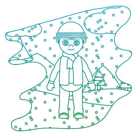 degraded line boy with winter clothes and snowing weather vector illustration  イラスト・ベクター素材