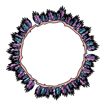 doodle circle natural exotic leaves style vector illustration