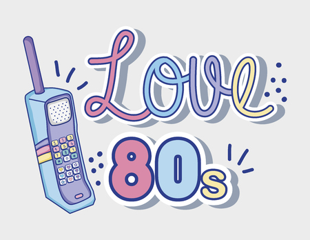 I love 80s cartoons cellphone vector illustration graphic design