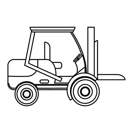 line forklift transportation machine industry vehicle Vectores