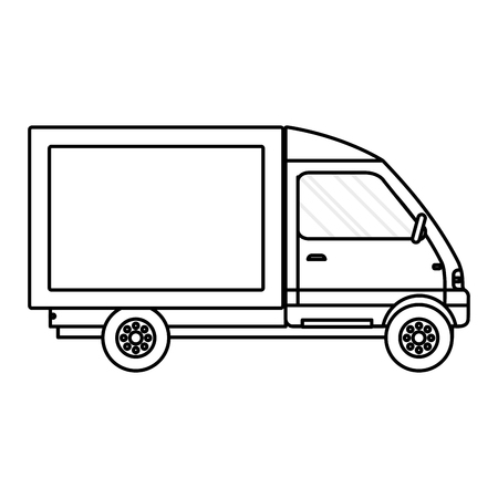 line truck vehicle service delivery transport vector illustration