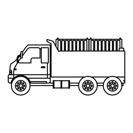 line truck containers transport delivery service vector illustration Illustration