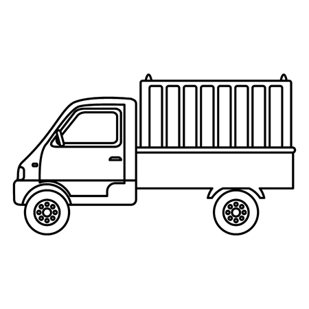 line delivery truck container transport service Illustration