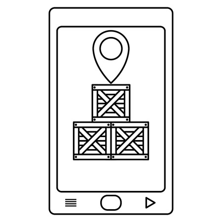 line smartphone with delivery packages and location symbol Vectores