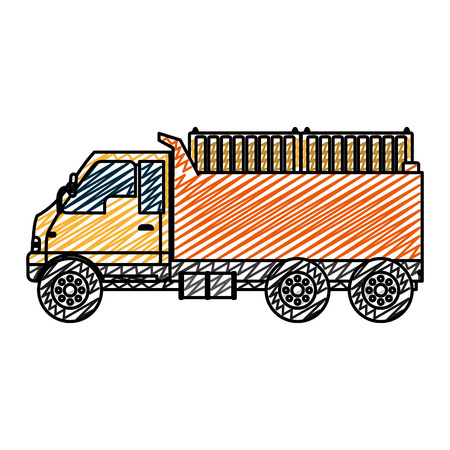 doodle truck containers transport delivery service Illustration