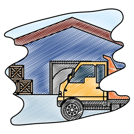 doodle delivery store and boxes with truck container Illustration