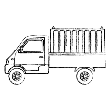 grunge delivery truck container transport service vector illustration