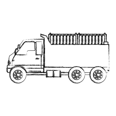 grunge truck containers transport delivery service vector illustration
