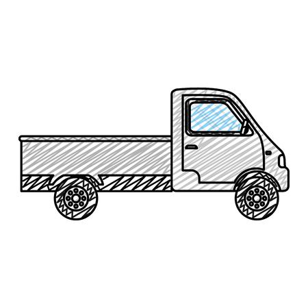 doodle truck transport vehicle delivery service vector illustration Illustration