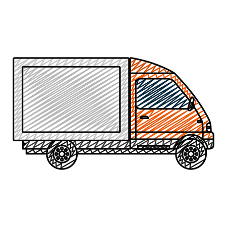 doodle truck vehicle service delivery transport vector illustration