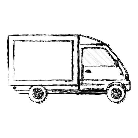 grunge truck vehicle service delivery transport vector illustration