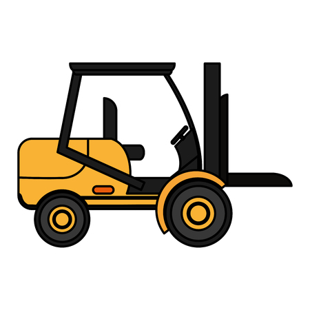 color forklift transportation machine industry vehicle vector illustration