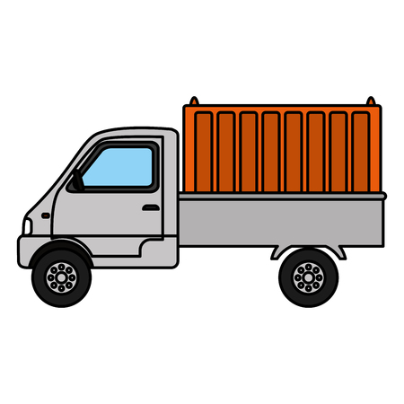 color delivery truck container transport service vector illustration