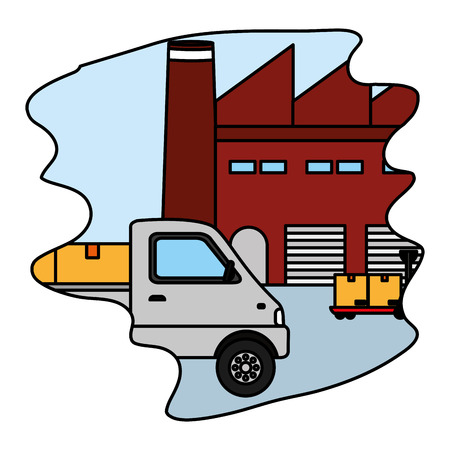 color platform and trucks with boxes in the delivery store vector illustration