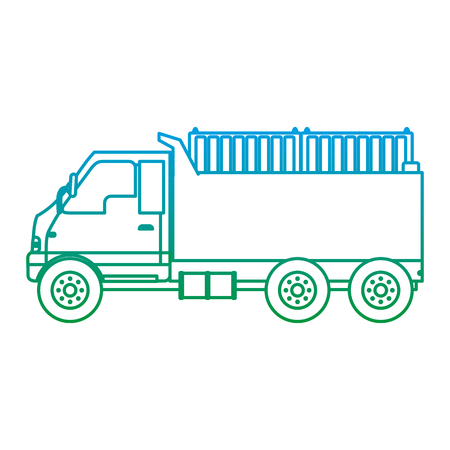 degraded line truck containers transport delivery service vector illustration
