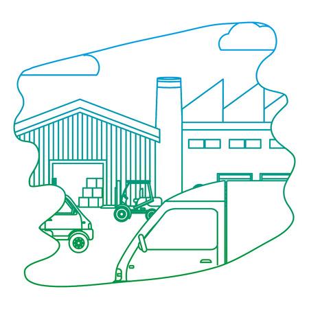 ligne de livraison de la livraison de la route et des boîtes de bois avec chariot élévateur illustration vectorielle