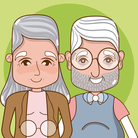 Cute grandparents cartoon over colorful background vector illustration graphic design
