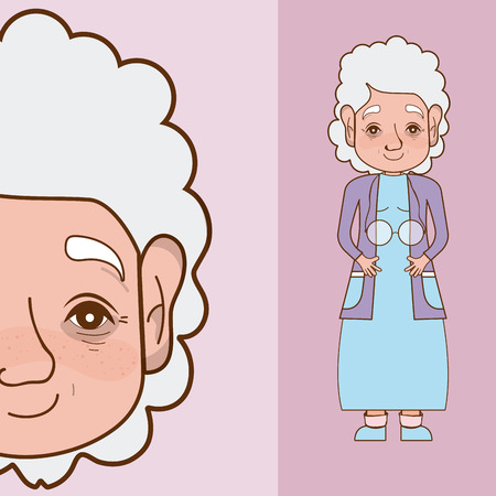 Cute and tender grandmother cartoon vector illustration graphic design