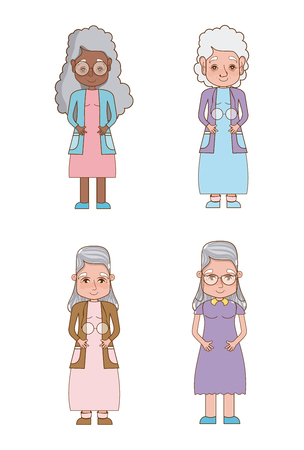 Set of grandfather cartoons collection vector illustration graphic design